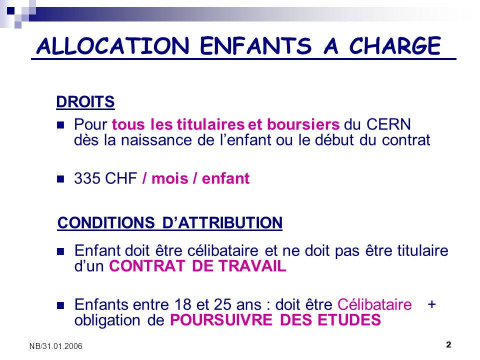 ALLOCATION ENFANTS A CHARGE