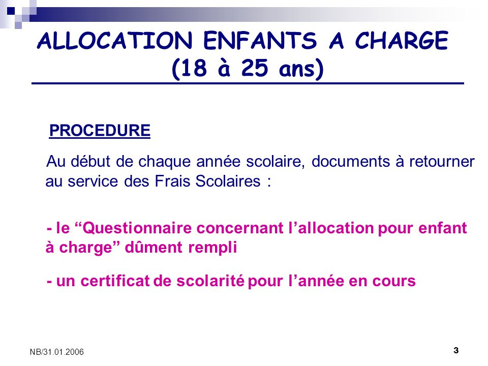 ALLOCATION ENFANTS A CHARGE (18 à 25 ans)