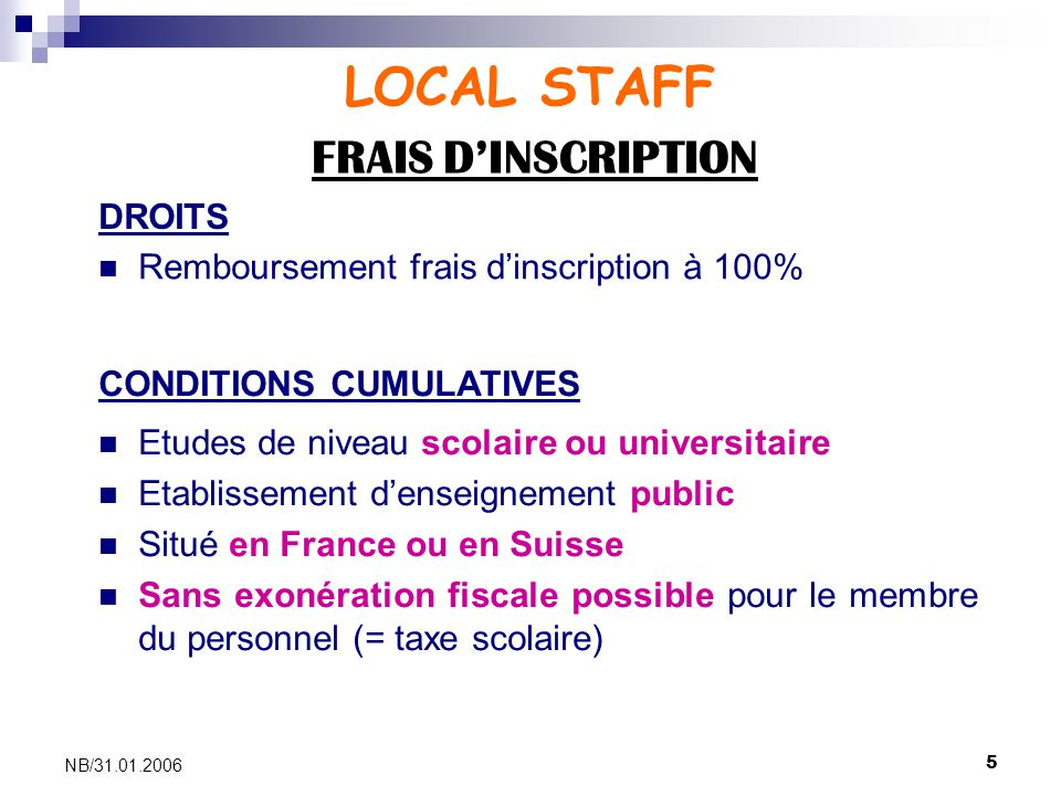 LOCAL STAFF FRAIS D'INSCRIPTION DROITS