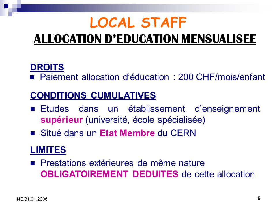ALLOCATION D'EDUCATION MENSUALISEE