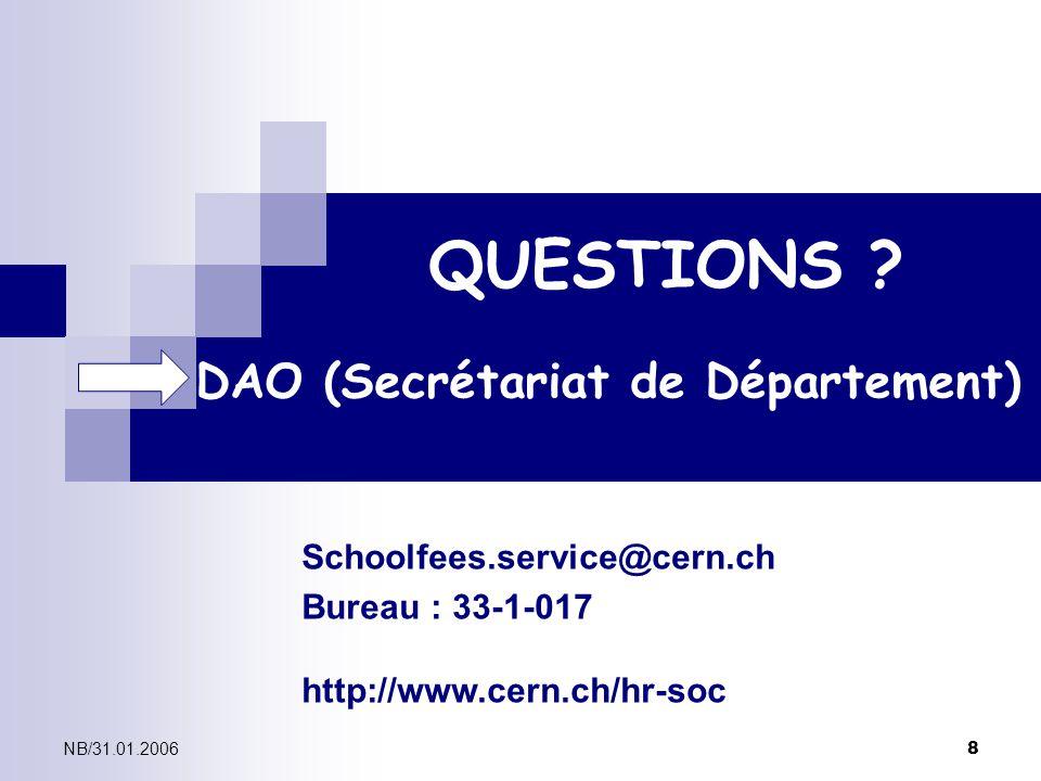 QUESTIONS DAO (Secrétariat de Département)