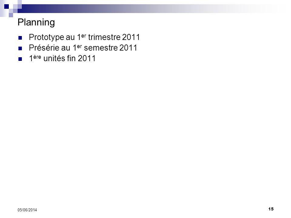 Planning Prototype au 1er trimestre 2011 Présérie au 1er semestre 2011