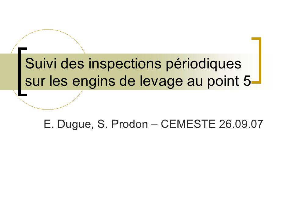 Suivi des inspections périodiques sur les engins de levage au point 5