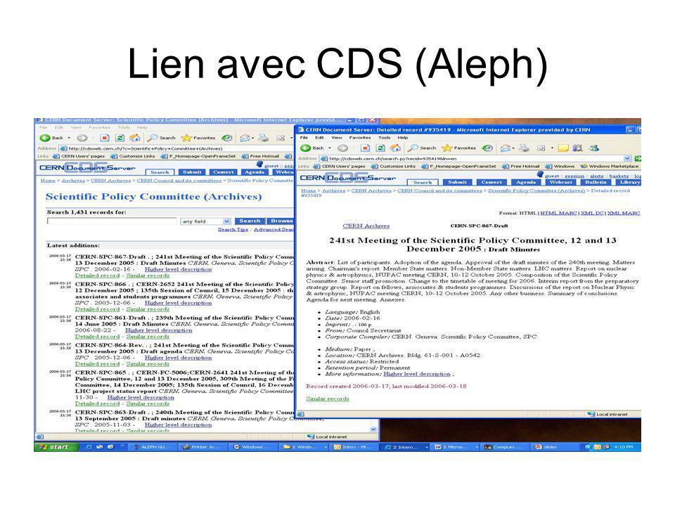 Lien avec CDS (Aleph)