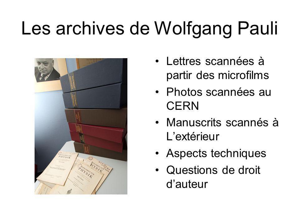 Les archives de Wolfgang Pauli
