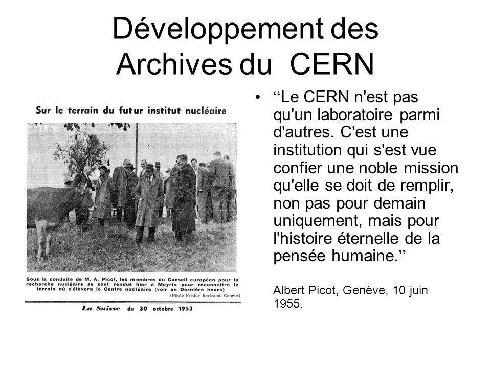Développement des Archives du CERN