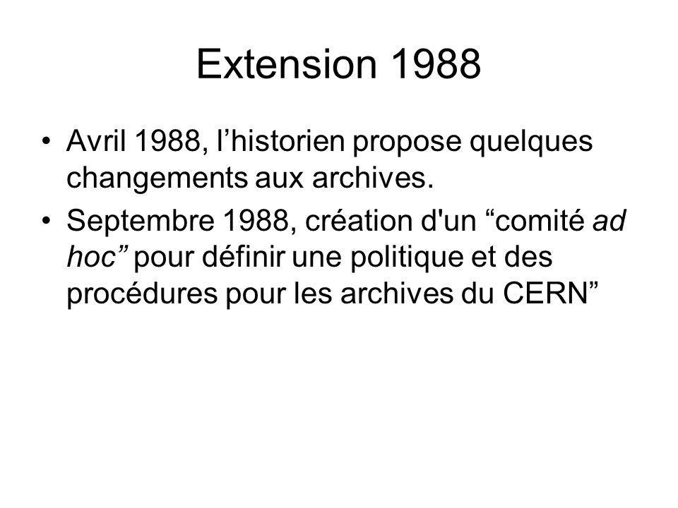 Extension 1988 Avril 1988, l'historien propose quelques changements aux archives.