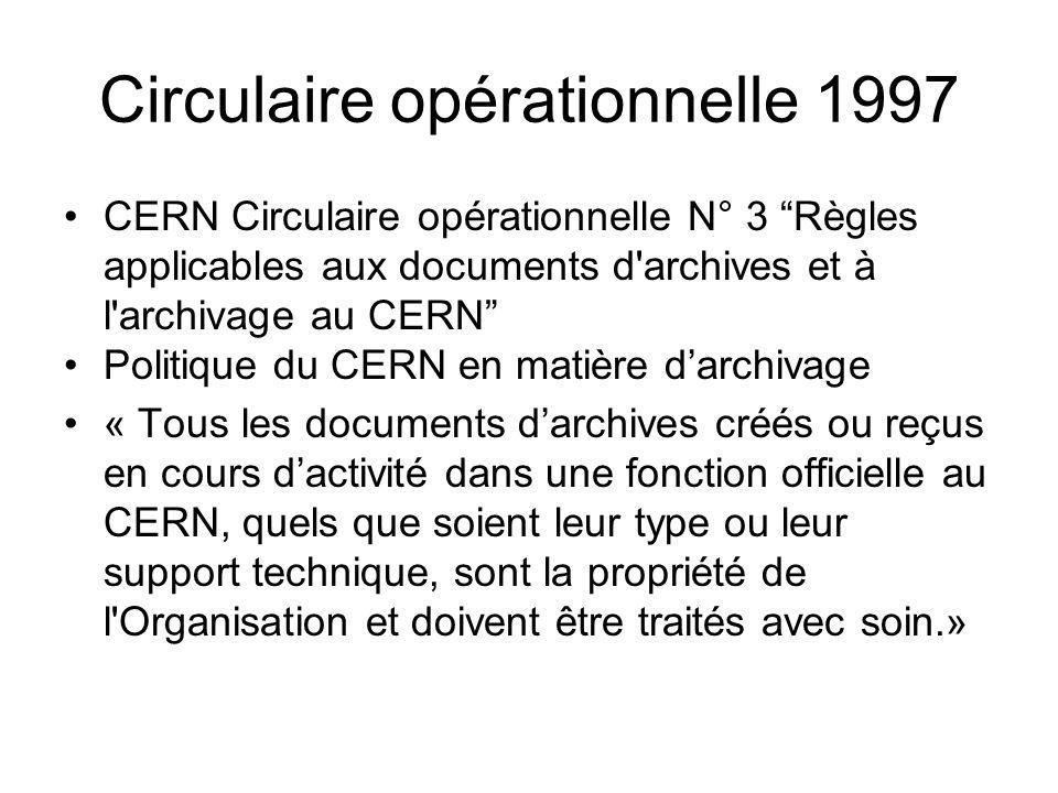 Circulaire opérationnelle 1997