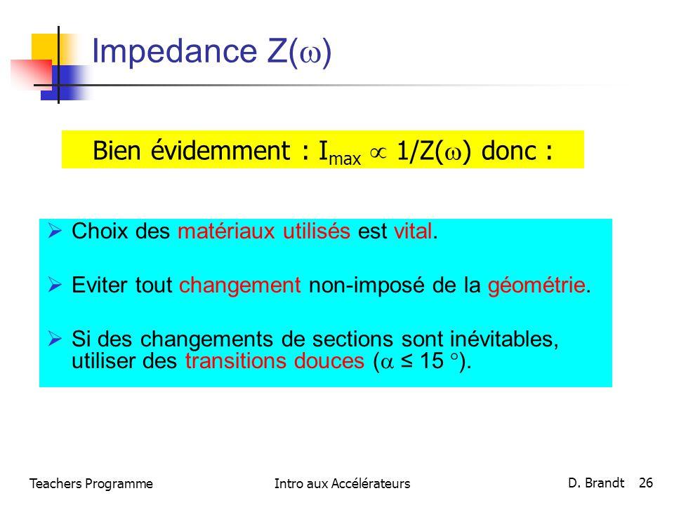 Impedance Z() Bien évidemment : Imax  1/Z() donc :