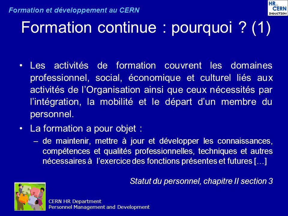 Formation continue : pourquoi (1)