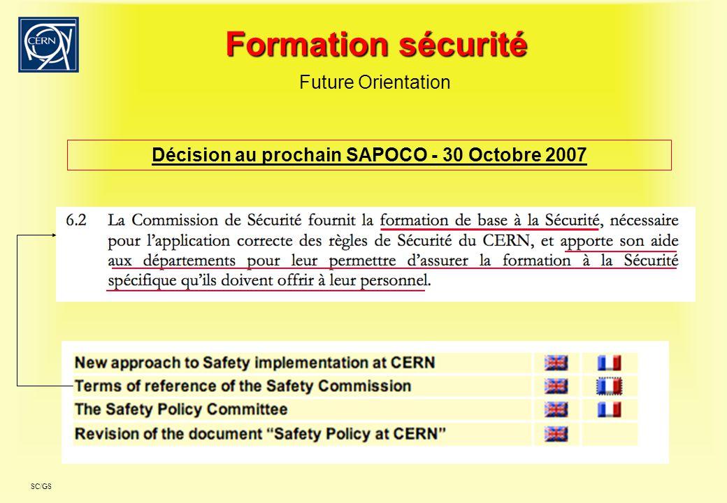 Décision au prochain SAPOCO - 30 Octobre 2007