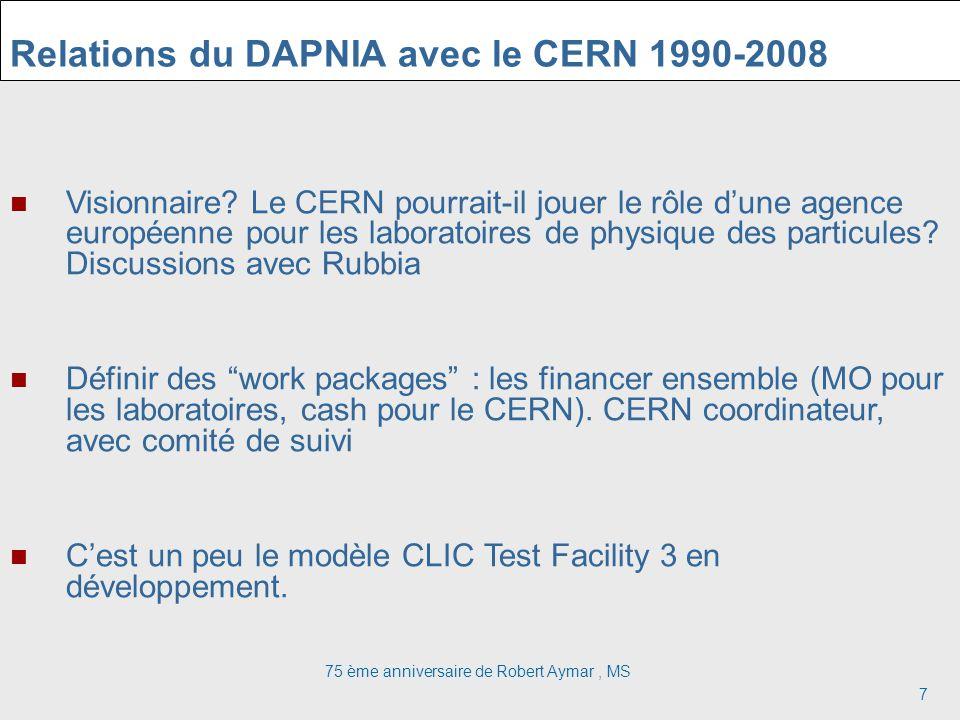 Relations du DAPNIA avec le CERN 1990-2008