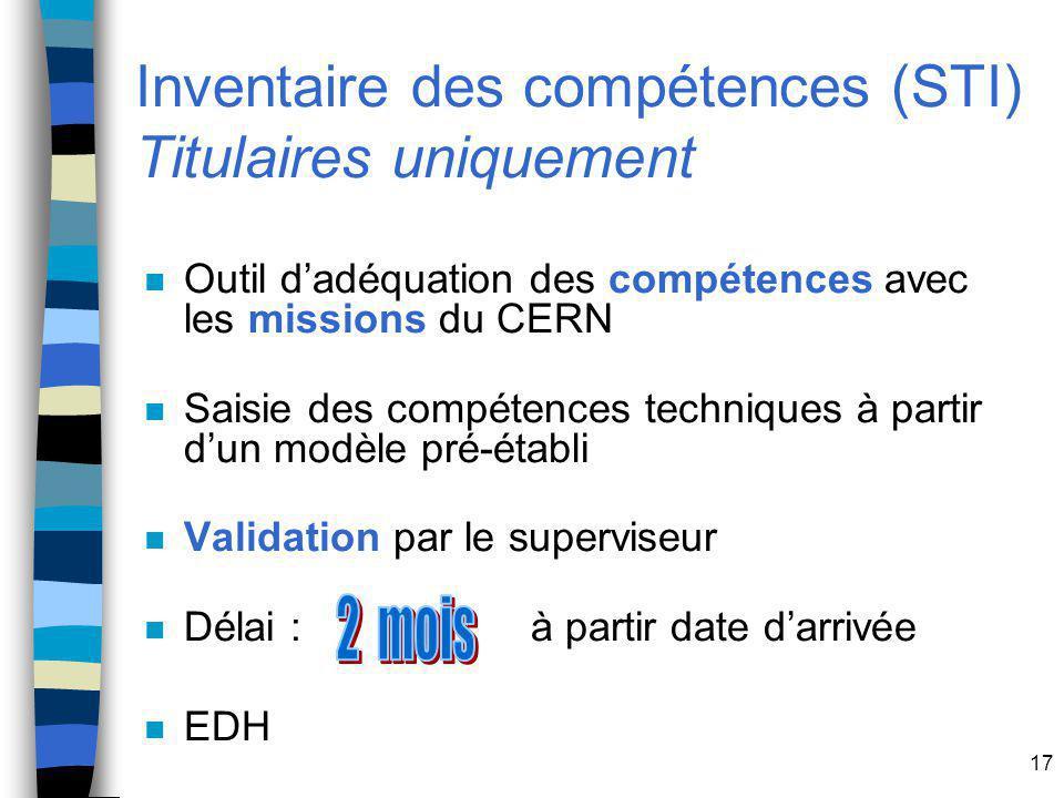 Inventaire des compétences (STI) Titulaires uniquement