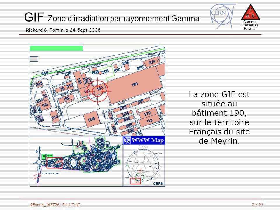 La zone GIF est située au bâtiment 190, sur le territoire Français du site de Meyrin.