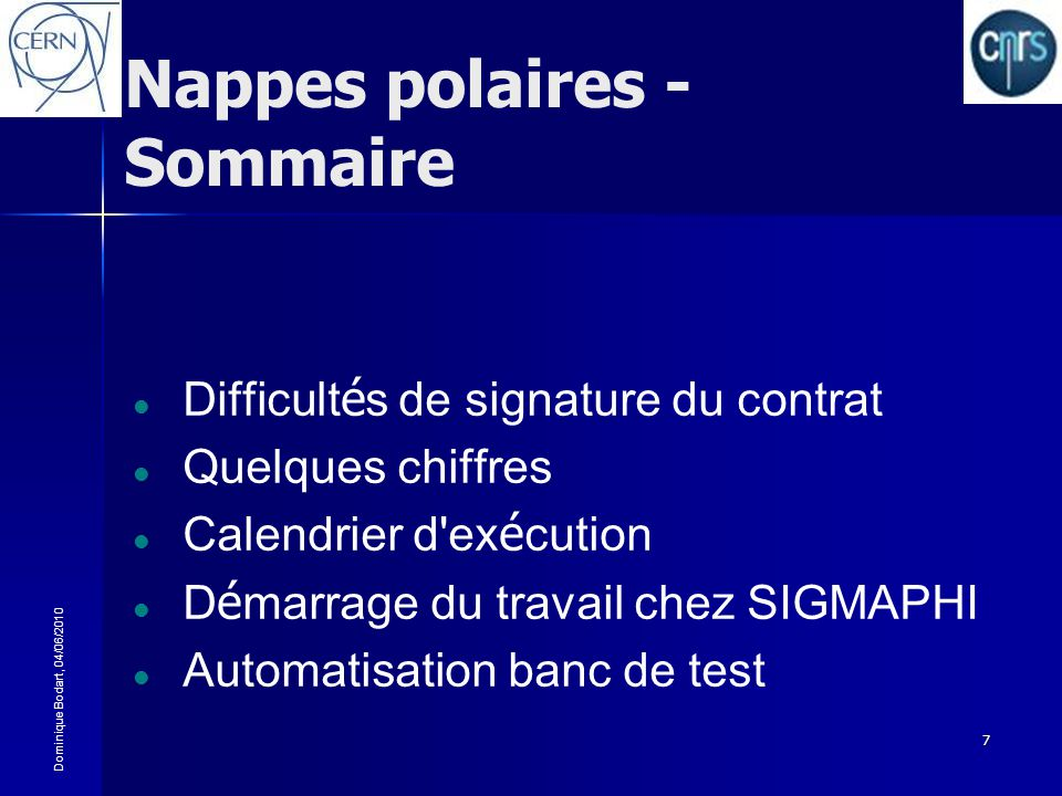 Nappes polaires - Sommaire