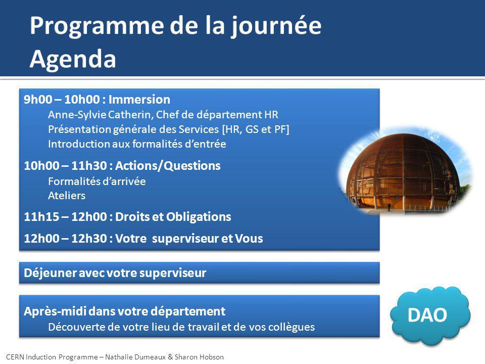 Programme de la journée Agenda