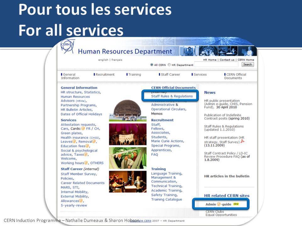Pour tous les services For all services