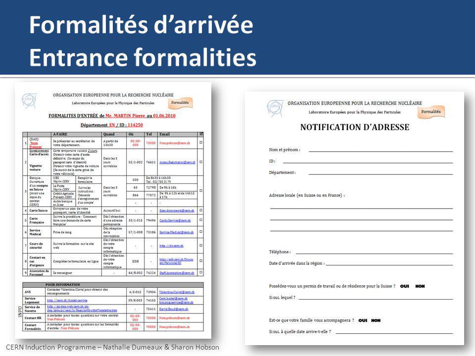 Formalités d'arrivée Entrance formalities