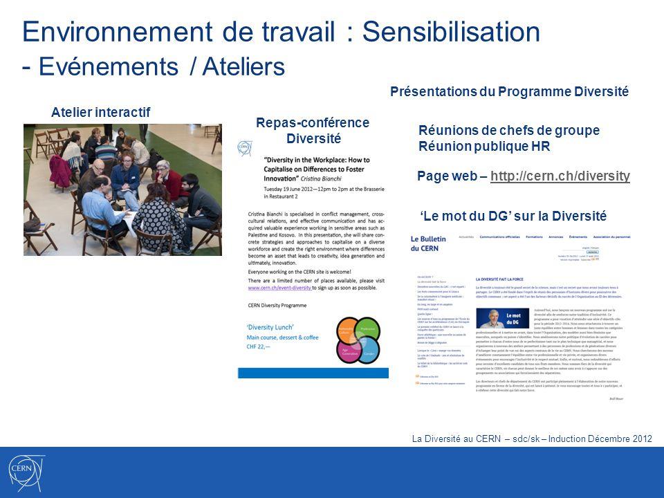 Environnement de travail : Sensibilisation - Evénements / Ateliers