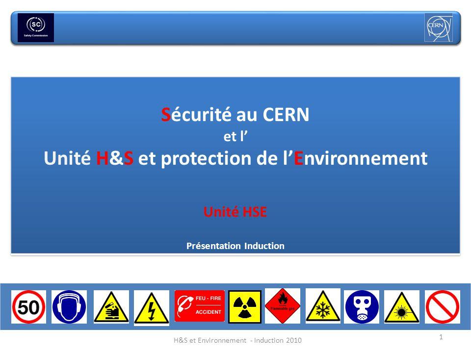 Unité H&S et protection de l'Environnement Présentation Induction