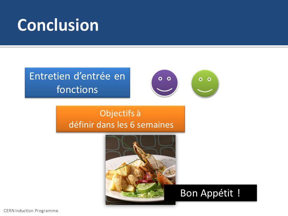 Conclusion Entretien d'entrée en fonctions Bon Appétit ! Objectifs à