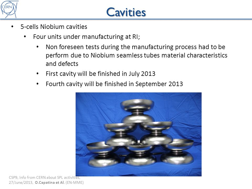 Cavities 5-cells Niobium cavities