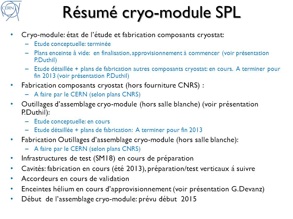 Résumé cryo-module SPL