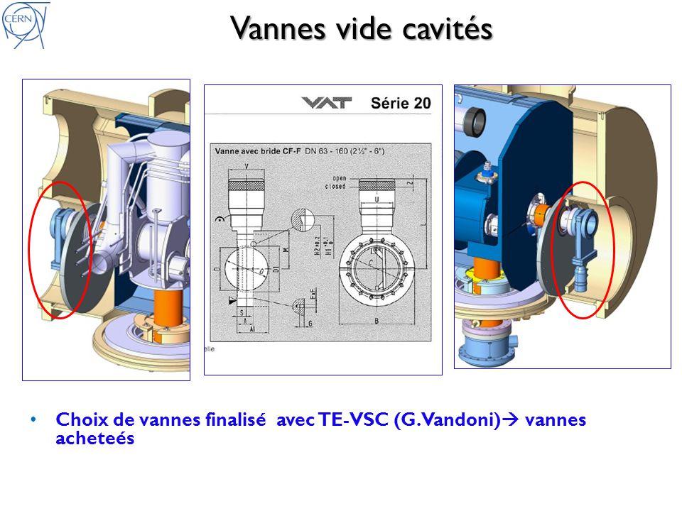 Vannes vide cavités Choix de vannes finalisé avec TE-VSC (G.Vandoni) vannes acheteés