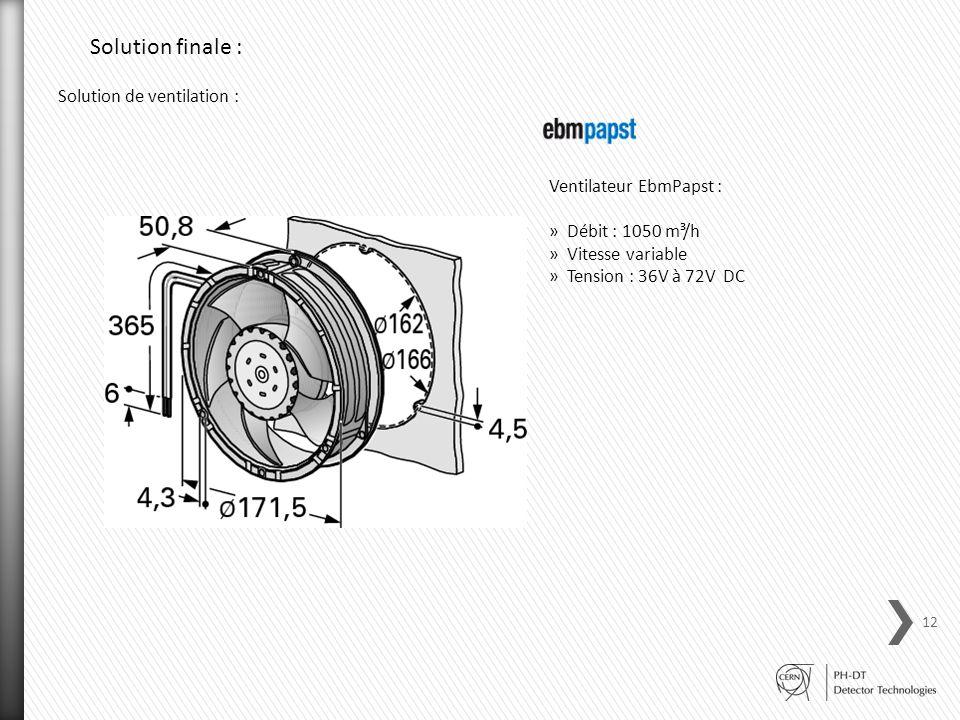 Solution finale : Solution de ventilation : Ventilateur EbmPapst :