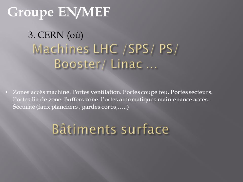 Machines LHC /SPS/ PS/ Booster/ Linac …