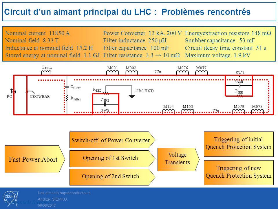 Circuit d'un aimant principal du LHC : Problèmes rencontrés
