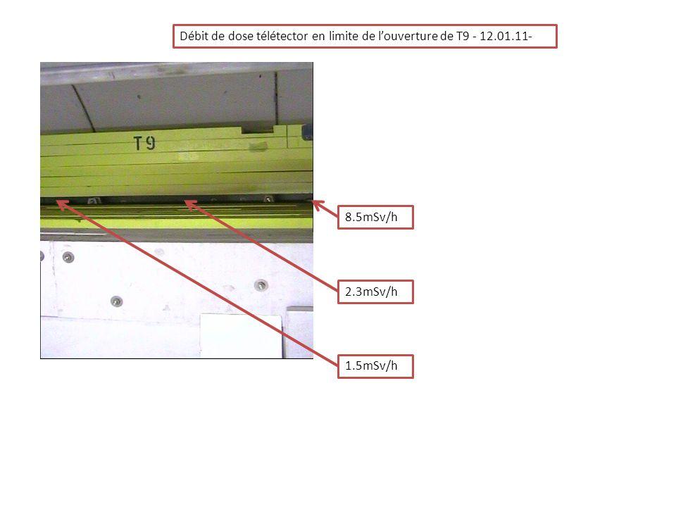 Débit de dose télétector en limite de l'ouverture de T9 - 12.01.11-