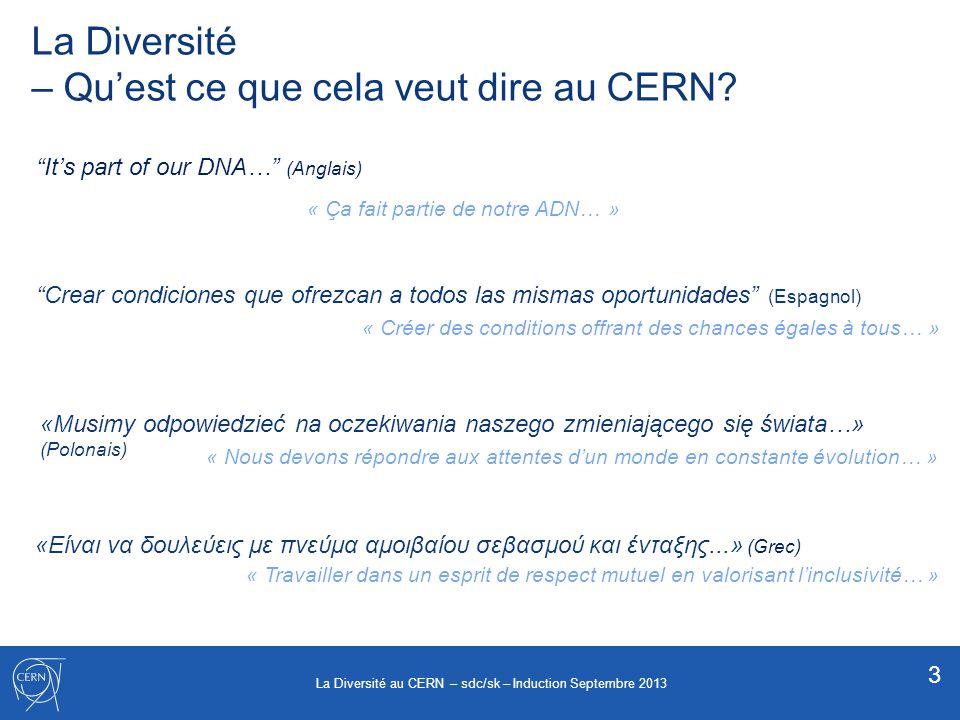 La Diversité – Qu'est ce que cela veut dire au CERN