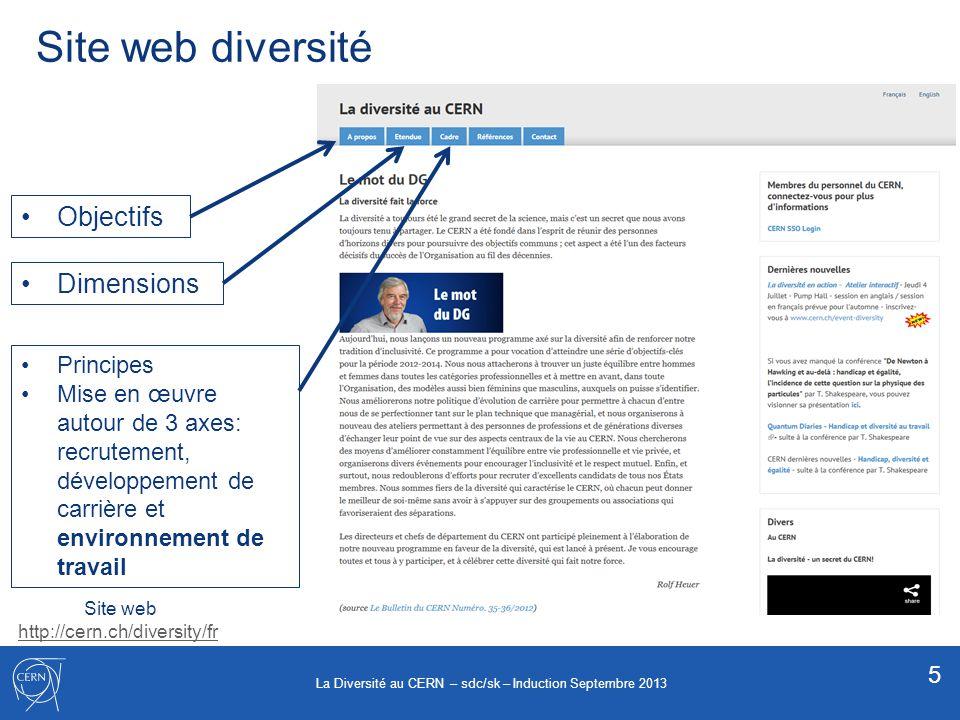 Site web diversité Objectifs Dimensions Principes