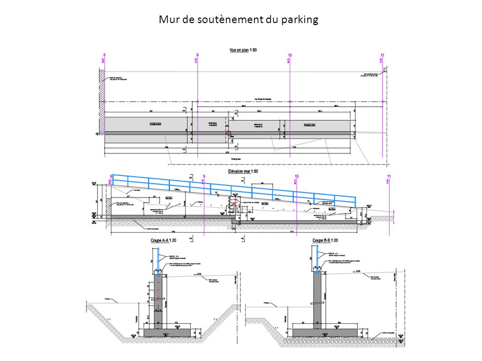 Mur de soutènement du parking