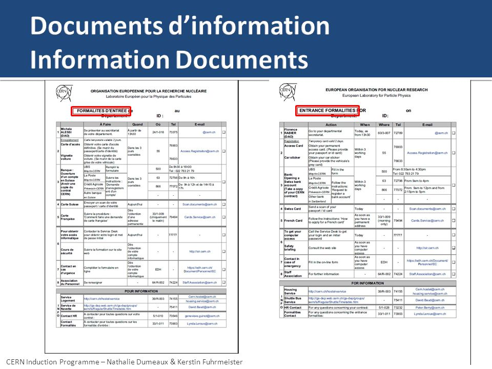 Documents d'information Information Documents