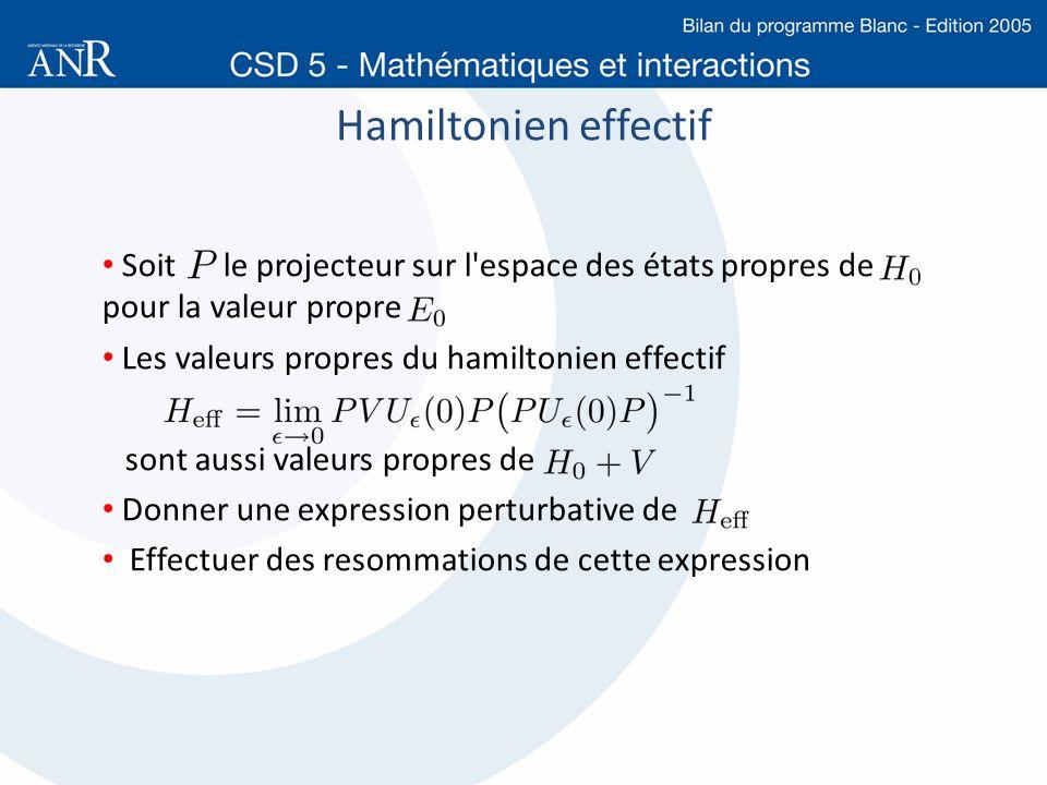 Hamiltonien effectif Soit le projecteur sur l espace des états propres de pour la valeur propre.