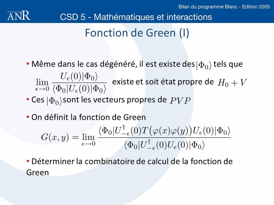 Fonction de Green (I) Même dans le cas dégénéré, il est existe des tels que. existe et soit état propre de.