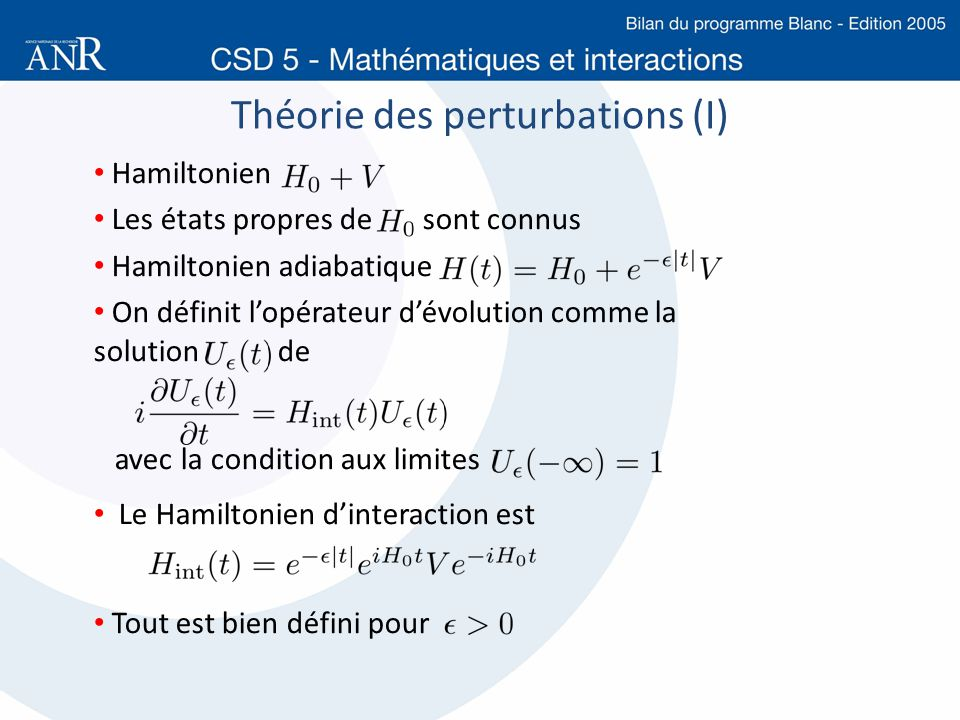Théorie des perturbations (I)