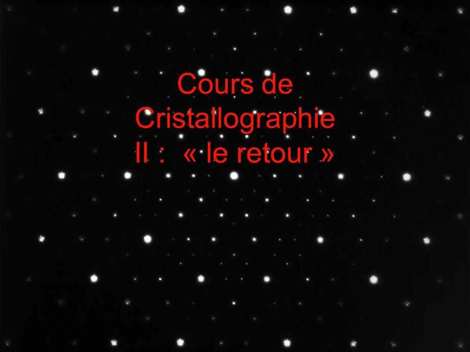 Cours de Cristallographie II : « le retour »