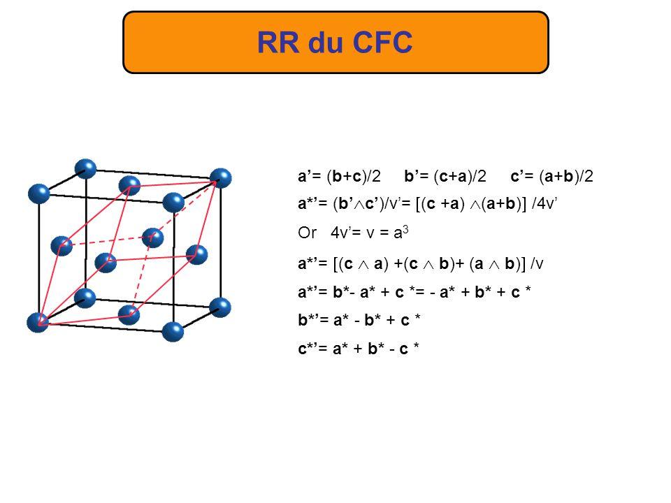 RR du CFC a'= (b+c)/2 b'= (c+a)/2 c'= (a+b)/2
