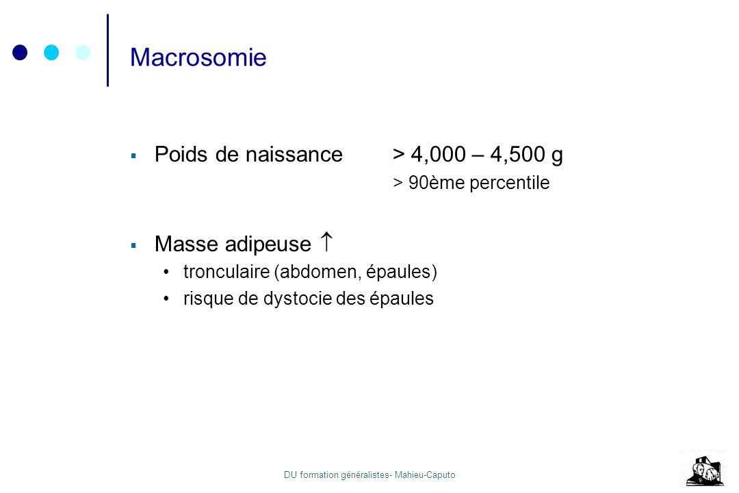 Macrosomie Poids de naissance > 4,000 – 4,500 g Masse adipeuse 
