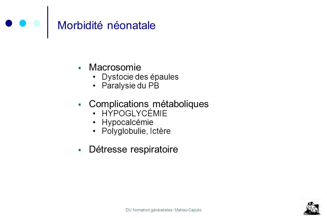 Morbidité néonatale Macrosomie Complications métaboliques