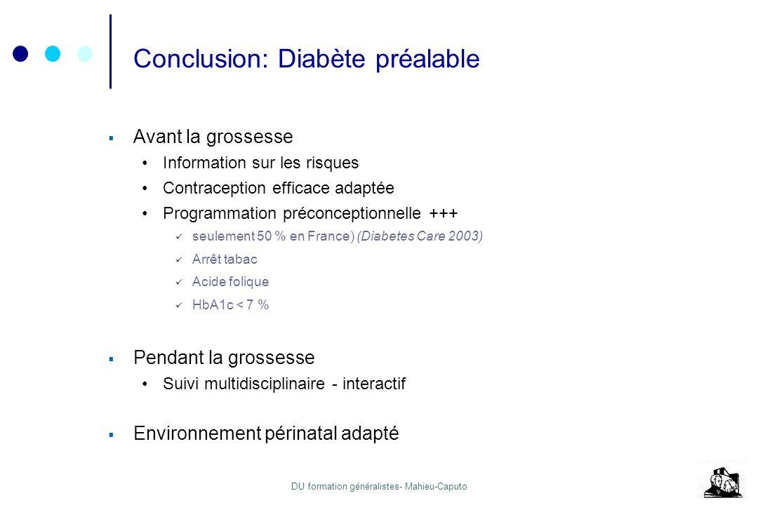 Conclusion: Diabète préalable