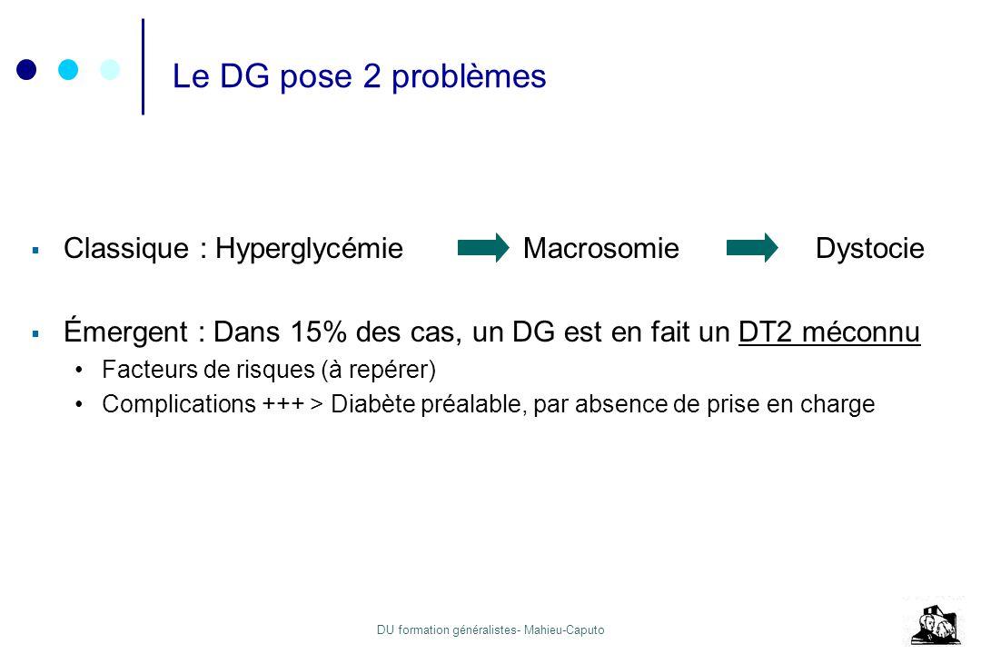 Le DG pose 2 problèmes Classique : Hyperglycémie Macrosomie Dystocie