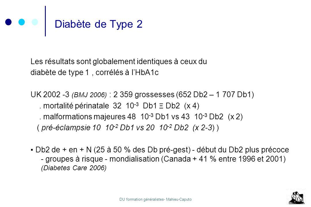 Diabète de Type 2 Les résultats sont globalement identiques à ceux du