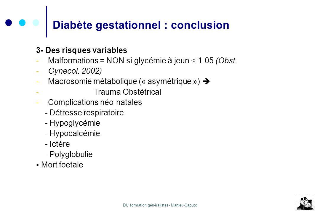 DB gestationnel: conclusion Diabète gestationnel : conclusion