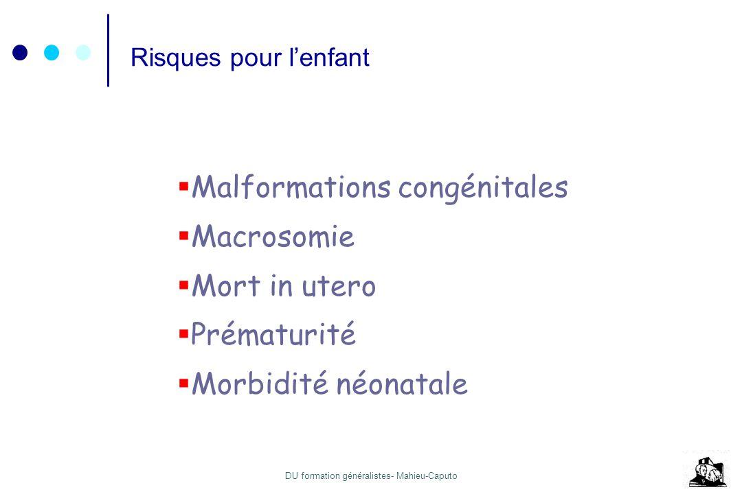 Malformations congénitales Macrosomie Mort in utero Prématurité