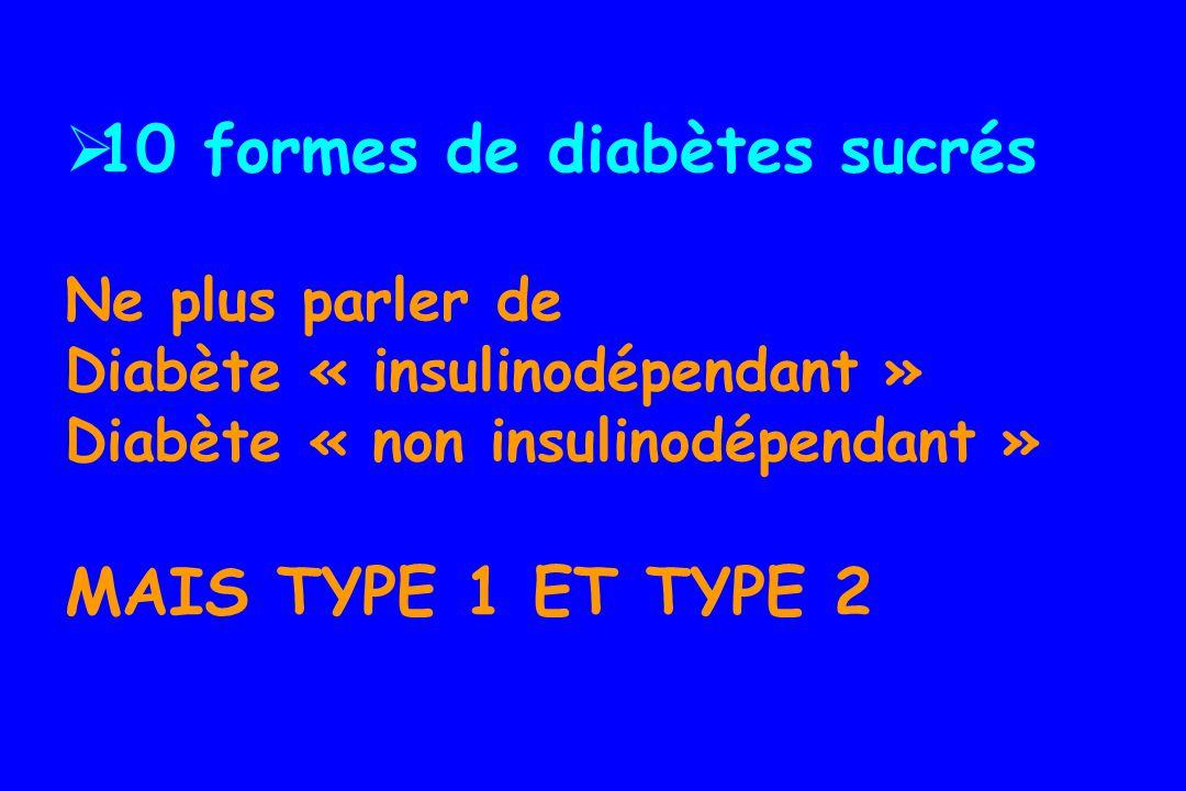 10 formes de diabètes sucrés