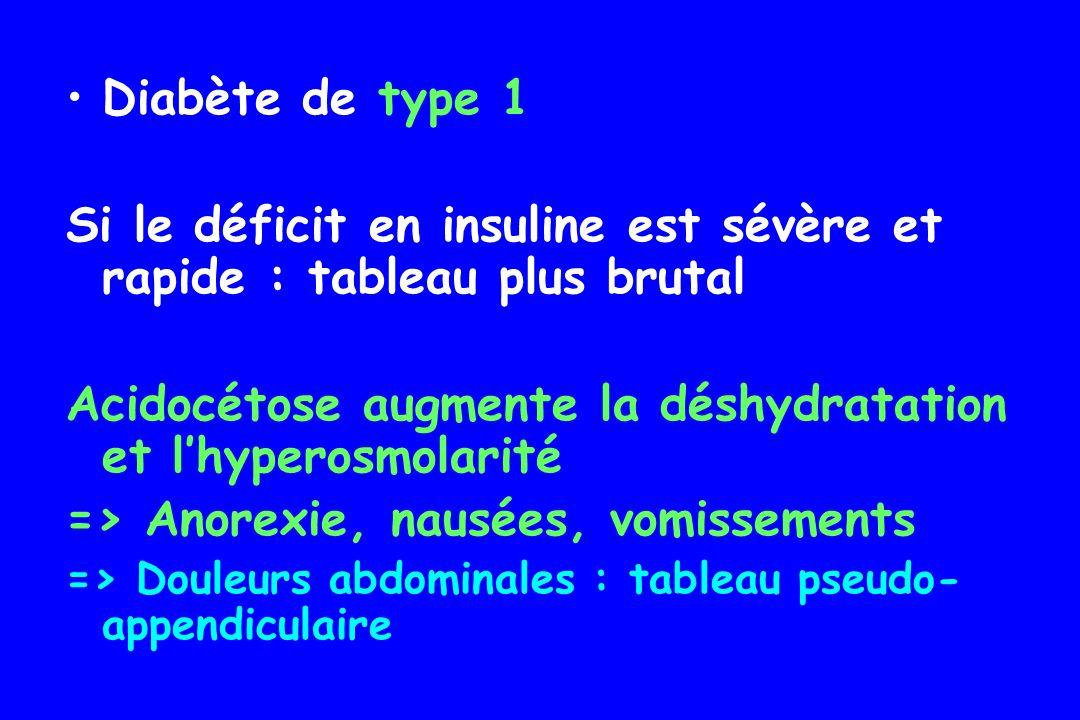 Si le déficit en insuline est sévère et rapide : tableau plus brutal